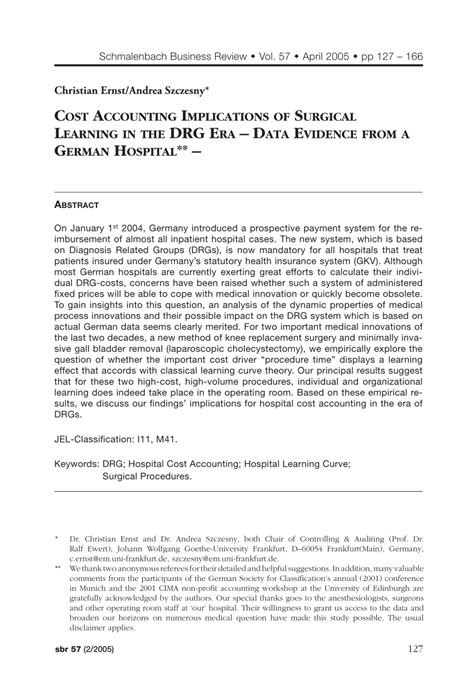 Learn what a drg is, how it works, and why medicare and health insurers use them to pay hospital bills. (PDF) Cost Accounting Implications of Surgical Learning in the DRG Era - Data Evidence from a ...