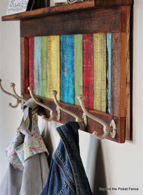 picket fence colorful rustic coat hook shelf