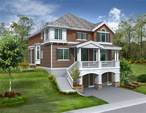 house plans for sloped lots for the front sloping lot 2357jd 2nd floor master