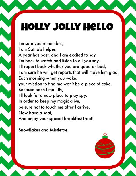 elf   shelf breakfast ideas printable letter