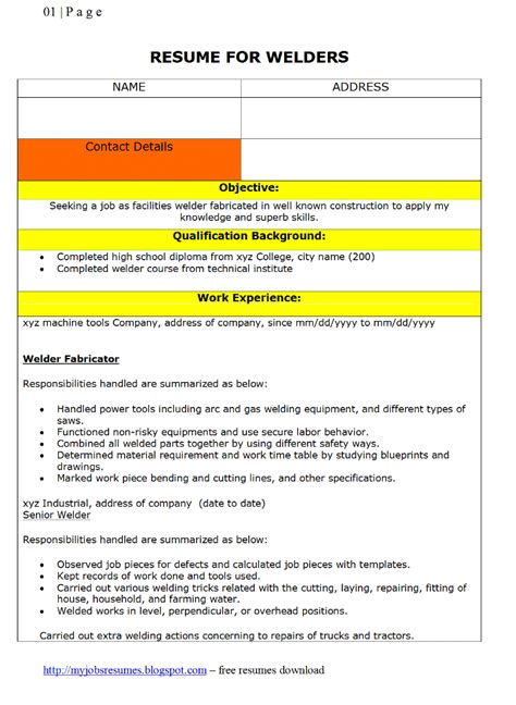welder supervisor description for resume fresh and free resume sles for resumes cv for welders