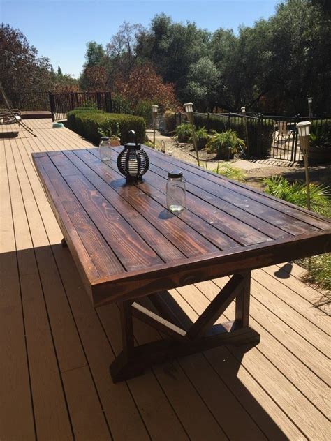 diy large outdoor dining table   outdoor wood