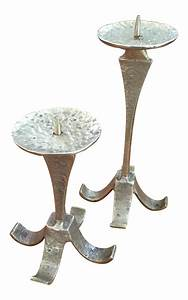 mid century brutalist brass candle holders a pair chairish With kitchen cabinets lowes with mid century candle holder