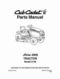 Cub Cadet 2000 Series Lawn Tractor Parts Manual Model No  2146