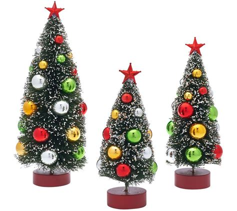 set   graduated bottle brush trees  decorations