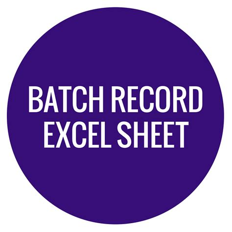 batch record excel sheet wholesale supplies