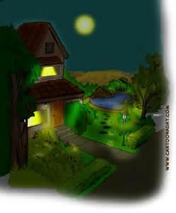 Cartoon House at Night