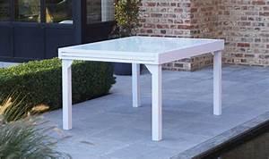 Table De Jardin Avec Rallonge : salon modulo blanc anis 6 personnes en aluminium avec ~ Farleysfitness.com Idées de Décoration