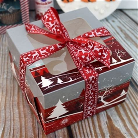christmas cake box  window red silver