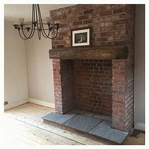 Exposed, Brick, Fireplace, With, Indian, Stone, Hearth, And, Reclaimed, Wooden, Lintel