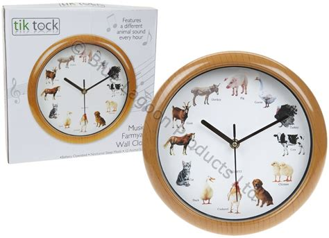musical farm clock animal sound wall clock home