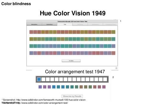 color arrangement test visual impairments