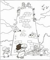 Tower Babel Lesson Coloring Drawing sketch template