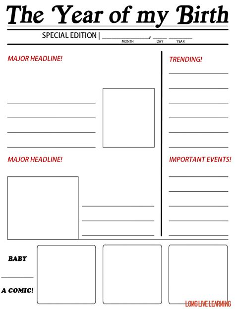 template for students printable newspaper activity the year i was born happy trails tales