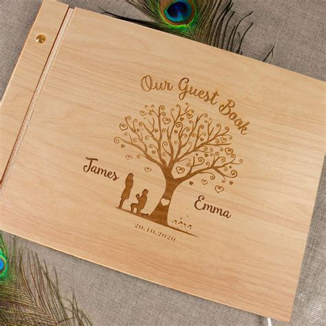 heart tree wood guest book personalized wedding photo album wood paper love cards