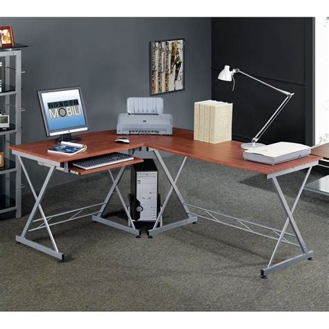 techni mobili l shape mahogany computer desk ebay