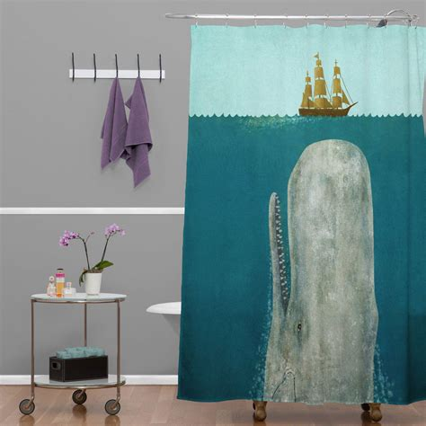 vintage bathroom with whale shower curtain terry fan and