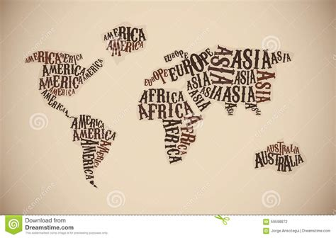 world map in typography continent words stock vector image 59598872