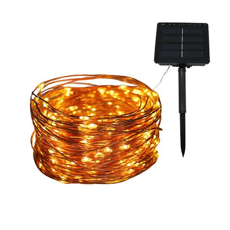 solar powered led string lights 20m 200 led copper