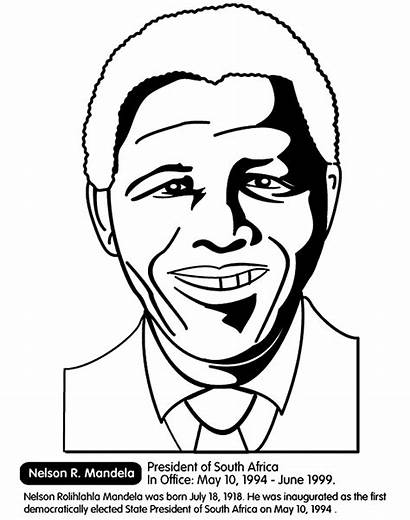 Coloring History Month Pages Mandela Nelson