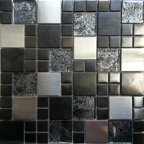 Metallic Random Mix Glass Mosaic Wall Tiles Kitchen