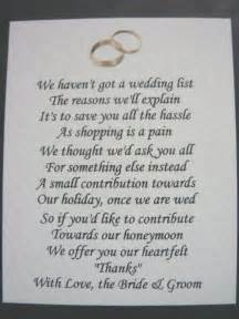 wedding registry money fund 40 wedding poems asking for money gifts not presents ref