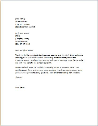 letter  job interview word template word