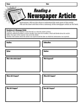 Newspaper Article Summary Form By Jewels  Teachers Pay Teachers