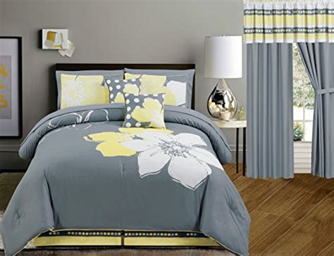 yellow and grey size bedding property yellow grey white floral bed in a bag size