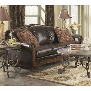 Ashley Barcelona Faux Leather Sofa In Antique 5530038