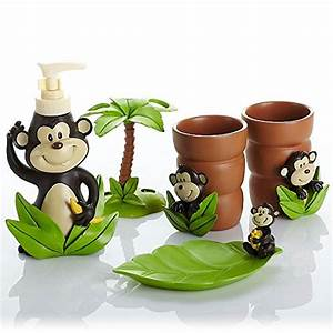 adorable accessories for kids bathroom home designing With monkey bathroom set