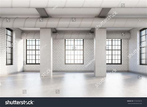 Empty Loft Room White Brick Walls Stock Photo 573433675