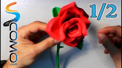 Hacer una Rosa con Goma Eva (1/2) YouTube