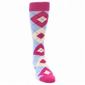 Fuchsia Light Blue Argyle Men's Dress Socks Statement