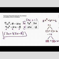 Factoring Tough Trinomials Using The Box Method Youtube