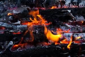 Burning wood and coal in fireplaceCloseup of hot burning ...