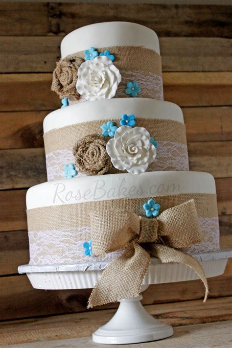 Burlap And Lace Rustic Wedding Cake Rose Bakes