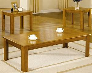 3 piece oak veneer occasional table group for Light oak coffee table sets