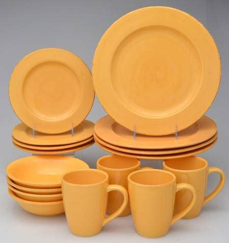 dinnerware sets casual mustard signature replacements yellow brands china