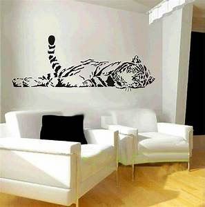 Elephant wall decal animal wild zoo lying tail up tiger