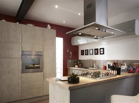 hotte pour cuisine ouverte îlot et bar dans une cuisine de 10m leroy merlin