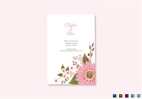 Floral Engagement Announcement Card Design Template in