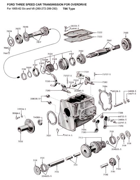 1955 Thunderbird Overdrive Wiring Diagram by Flathead Parts Drawings Transmissions