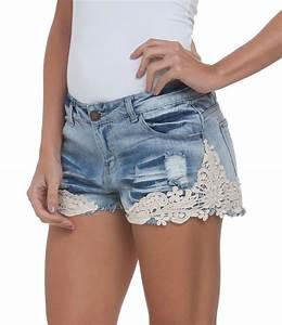 Short Feminino em Jeans com Renda Guipir - Lojas Renner   roupas   Pinterest   Jeans Ems and Shorts