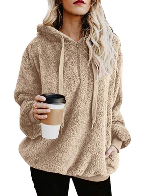womens warm long sleeves sherpa pullover sweatshirts