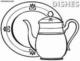 Dishes Coloring Pages Colorings Coloringway sketch template