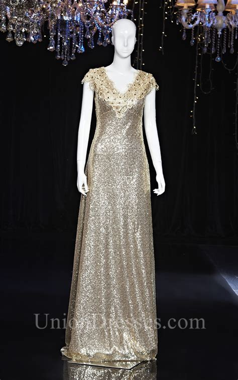 Sheath V Neck Cap Sleeve Long Champagne Sequin Lace Beaded ...