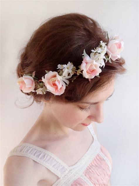 pink rose flower crown bridal hair piece  weddbook