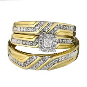 solid 10k yellow gold him trio set wedding engagement