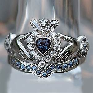 Heart shape sapphire and d vvs1 accents 10k white gold for Wedding ring sets with sapphire accents